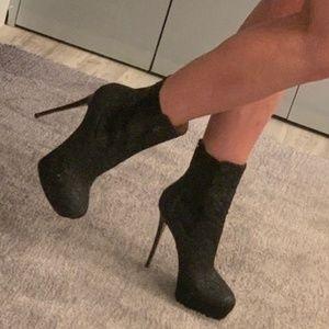 Valentino Ankle Booties Black with Lace S 38